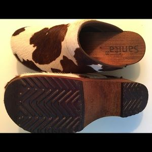 8d745361a76 SANITA COW PRINT CALF HAIR CLOGS - WOMENS SIZE 39